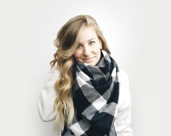 Blanket Scarf Buffalo Plaid, Oversized Poncho Shawl ⨯ Cotton Flannel ⨯ in BLACK, NAVY + WHITE