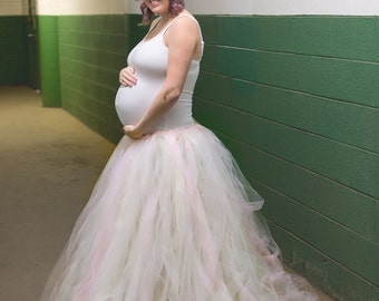 Maternity Skirt -Ivory and Pink Tulle Dress  -Tulle Dress -Full Skirt - Gown - Ivory Tulle Skirt - Pink Dress - Tutu Dress - Tulle Gown