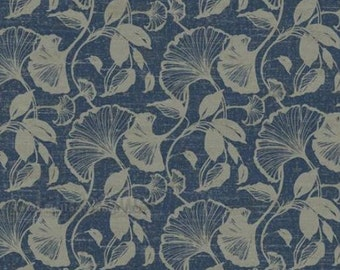 Metallic Silver Ginko Fan Floral on Navy Blue Wallpaper - Leaf Silhouette, Tan, Botanical, Natural, Bathroom, Bedroom - By The Yard - RC3746