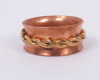 Copper Spinner Ring. Fidget Ring. Spinning Ring. Turning ring. Meditation Ring. Worry Ring. Chunky Brass Spinner. Copper Ring.