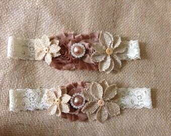 Vintage Burlap Couture Bridal Garter Set- Rustic wedding,Country wedding,throw garter,garter,bride,wedding,southern wedding,flower girl