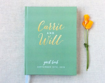 Wedding Guest Book #41 - Custom Hardcover Guest Book - Wedding Guestbook, Personalized Guest Book - Sage - Modern Calligraphy