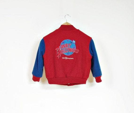 1991 Planet Hollywood Walt Disney World Super Rare Kids Wool Bomber Jacket Made in USA