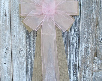Light Pink Sheer Rustic Burlap Bow, Organza Wedding Bow, Marriage Bridal Pew, New Mom Baby Girl Shower, Gender Reveal