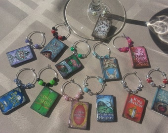 Set of 12 Book Themed Wine Charms