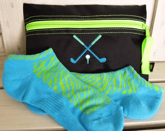 Golf Gift Set ON SALE! - Black and Lime Cosmetic Golf Bag and Sport Socks #096