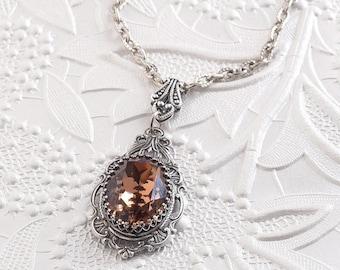Smoky Topaz Necklace, Smoky Topaz Swarovski Crystal, Antique Silver Necklace, Filigree Necklace, Swarovski Crystal Jewelry, Gift For Her