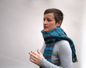 Scarf - Merino wool hand woven scarf in grey and vibrant turquoise.
