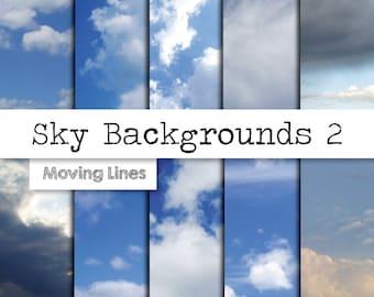 Sky digital Paper, White Clouds, Blue Sky Background, Heaven, Scrap Booking Paper, Card Making, Instant Download 10 JPG Files