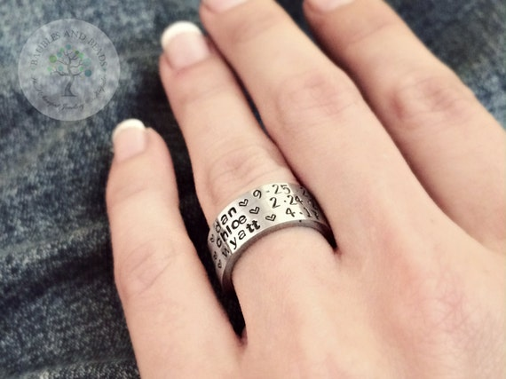 Personalized Rings - Custom Name Ring - Stacking Rings - Stacked Ring Set - Vanentines Gifts Under 25 - Silver Ring - Engraved Ring - Date