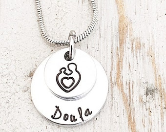 Doula Necklace - Midwife Necklace - Baby Catcher - Gift for Midwife - Doula Gift - Doula Pendant - Midwife Pendant - Hand Stamped Pendant