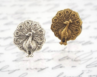 Peacock Tie Tack Men's Lapel Pin Jewelry - Antiqued Brass or Silver Plated