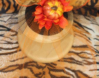 Autumn Fascinator with Pumpkin and flower and bow Burlesque Pinup