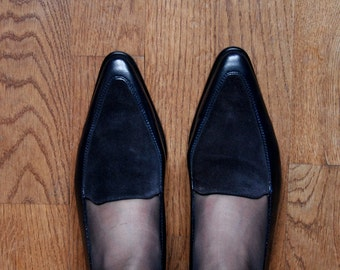 dark blue leather and suede loafers - low heel - comfortable - 38 - 7.5