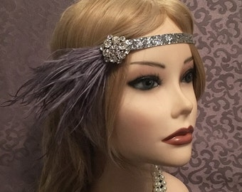 1920's velvet gray silver blue flapper headband head piece headpiece band ostrich Rhinestine cluster grey feather (676)