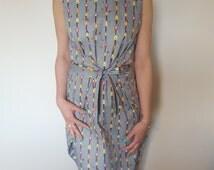 Bird print dress. Grey dress. Colourful dress. Birdhouse print. Wrap dress. Unique dress. Formal Dress. Cotton dress. Bow detail dress.