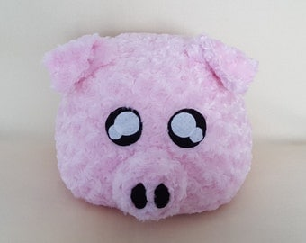 Cute Pink Fluffy Pig Pillow or Plush, Stuffed Pig