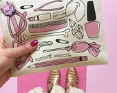 Girly Things Canvas Pouch, Cosmetic Pouch, Makeup Bag, Zipper Pouch, Best Friends Gift