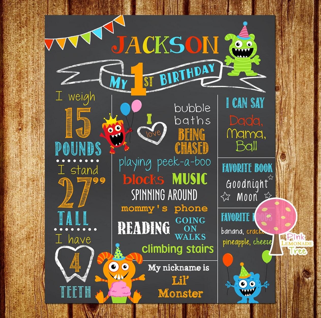 Monster Birthday Chalkboard Sign First Birthday Sign Little