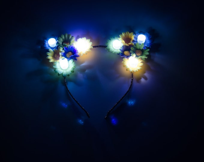 Mardi Gras LED Cat Ear Headband