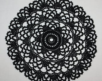Black Small Crochet Doily, Round Doily Lace, Doily Pineapple Doily, Cotton Doily, Halloween Decor, Crochet Placemat, 7 inches