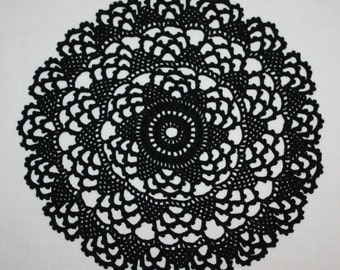 Small Black Crochet Doily Round Lace Doily Black Pineapple Doily Table Decoration Halloween Decor 7 inches