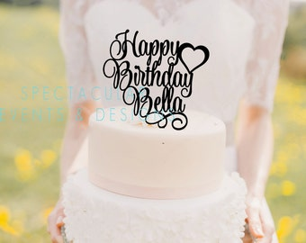 Personalized Happy Birthday Cake Topper with heart