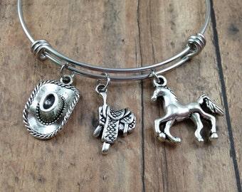 Cowgirl Charm Bracelet, Western Charm Bracelet, Cowgirl Bangle, Horse Lover Gift, Equestrian Bangle, Saddle Charm, Horse Charm, Cowboy Hat