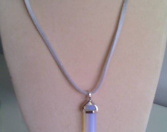 Opalite Crystal Point Pendulum/Pendant Necklace with faux suede cord