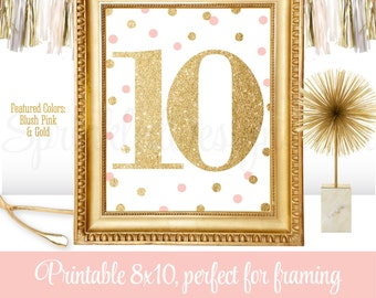 10th Birthday Party - Tenth Birthday - Number Ten 10 Sign - Blush Pink Gold Glitter - Printable Girl Birthday Party Decorations - 8x10 JPG
