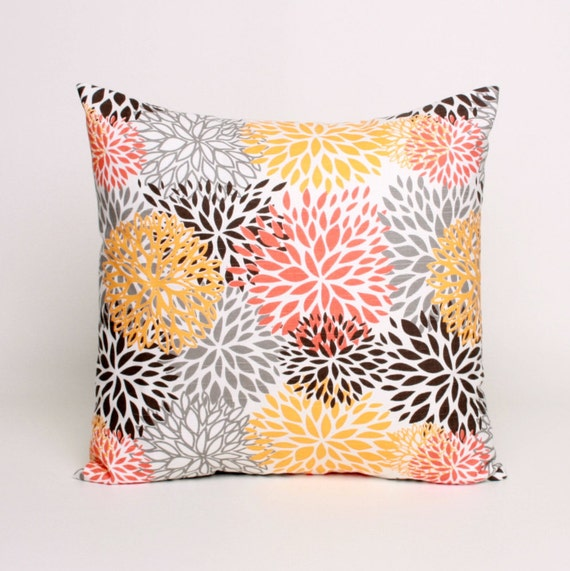 Items similar to throw pillow orange brown and gray pillow for Brown and gray throw pillows