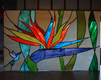 Poliptyk Tiffany Style  Stained Glass Panel Lamp Bird of Paradise