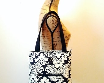 Damask Shoulder Bag / Zippered Bag / Handbag / Damask Purse / Black and Light Cream
