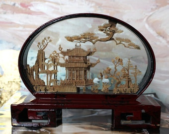 Vintage Red Lacquer Wood Driftwood Landscape in the Display Box with Swans / Hand made Precise Art piece / Asian Antique UK FREE DELIVERY