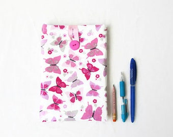 IPad Mini 4 case, pink butterfly fabric, handmade in the UK