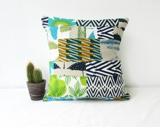Patchwork cushion cover, fabric scrap patchwork pillow, hand printed fabric green blue cushion, small quilted cushion, handmade in the UK