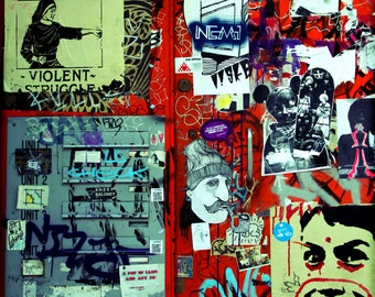 Street art print London sticker collage bright colourful - LIMITED EDITION