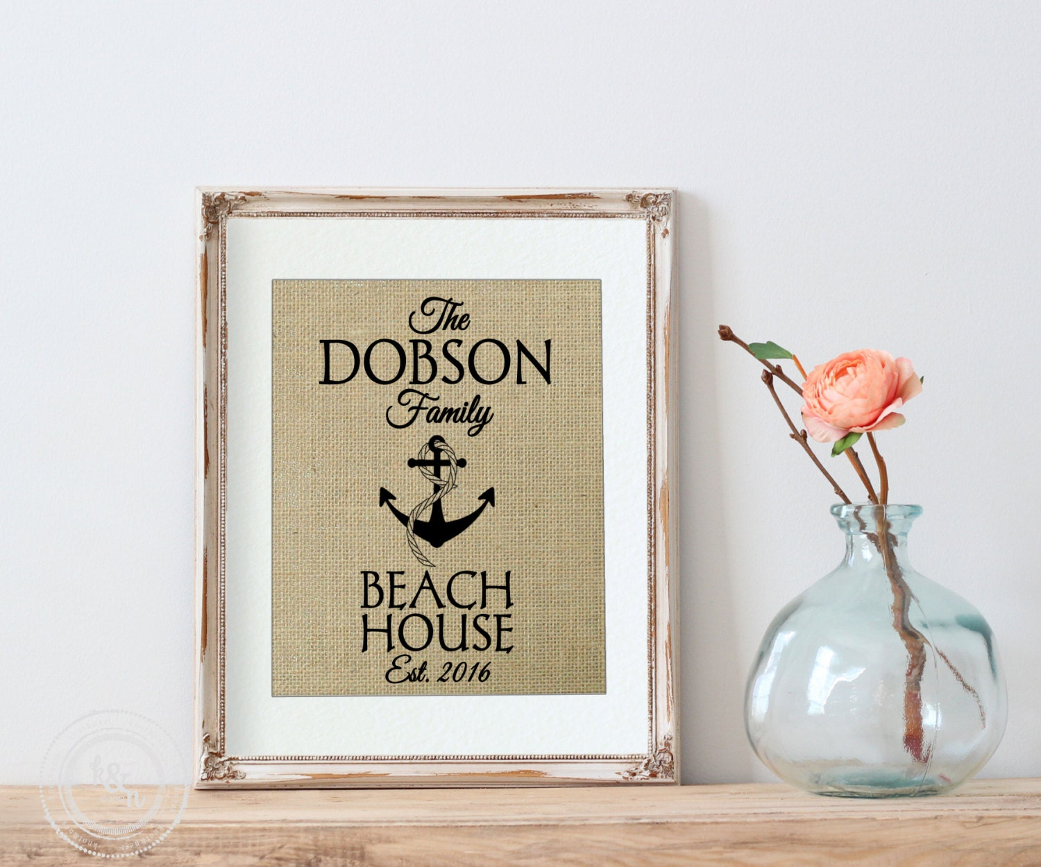 Personalized Beach House Plaques: Personalized Wall Decor For Beach House Burlap Personalized