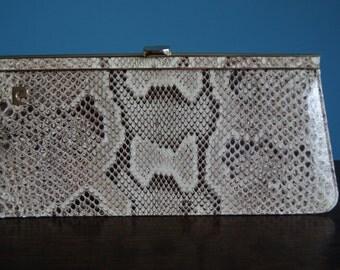 PIERRE CARDIN Real Python Leather vintage clutch