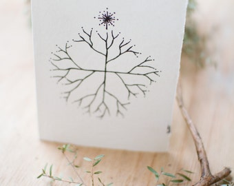 Christmas Card made from recycled handmade paper with Christmas Tree design by Cliffwatcher