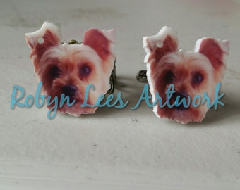 Printed Acrylic Yorkie Yorkshire Terrier Dog Adjustable Rings in Bronze Filigree or Plain Silver