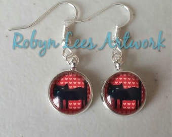 Red Cartoon Black Cat Glass Cabochon Earrings With Pink Hearts on Silver Plated Earring Hooks