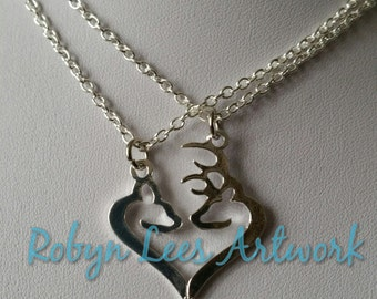 Silver Deer Stag & Doe Split Heart Necklace Set of 2 Necklaces, Best Friends, Couples, Modern, Art Nouveau