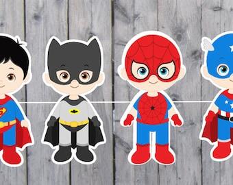 Superhero Banner - Superhero Party Banner - Superhero Garland