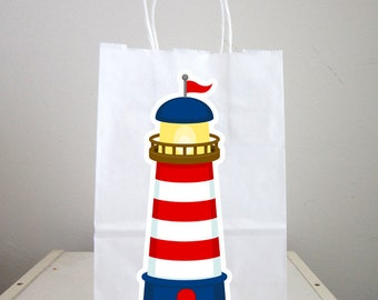 Lighthouse Goody Bags, Nautical Goody Bags, Nautical Favor Bags, Nautical Gift Bags