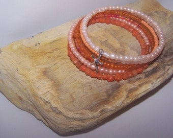Orange Sherbert Memory Wire  Bracelet