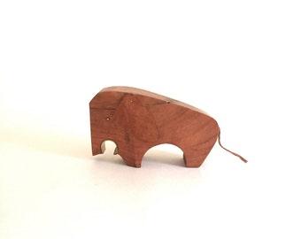 Vintage Wood and Leather Elephant Bottle Opener