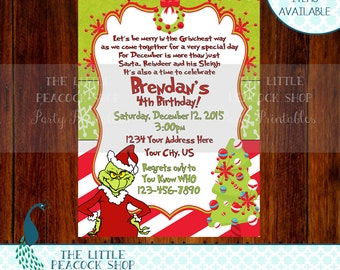 Grinch Who Birthday party invite! Grinchmas Christmas candy cane Whoville | Digital and printable invitation!