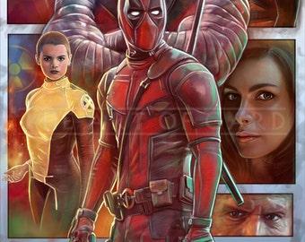 Deadpool Movie (collage) 11X17 High Quality Art Print