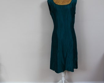 Emerald dress green dress 1960s dress 60s dress vintage dress raw silk dress wiggle dress shift dress size 14 dress mod dress silk petrol